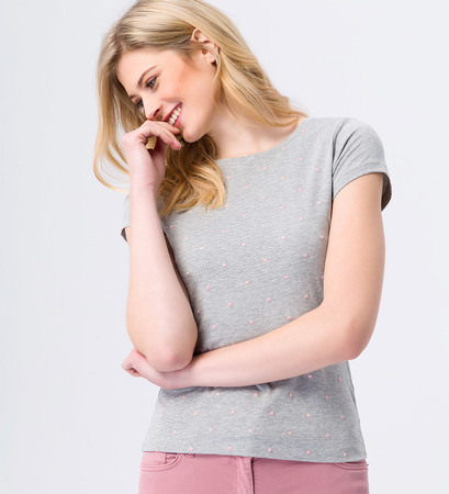 Jersey-Shirt mit eingestickten Punkten in stone grey