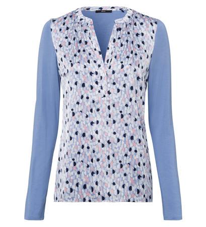 Blusenshirt mit bedruckter Front in shadow blue