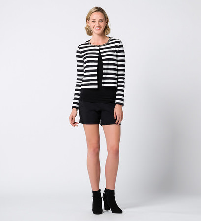 Jersey Cardigan mit Schmuckapplikation in black