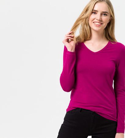 Shirt mit V-Ausschnitt in dark magenta