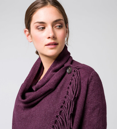 Strickjacke mit Fransen in plum-m