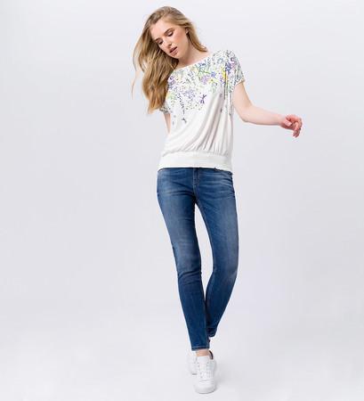 T-Shirt mit Blumenmuster in offwhite