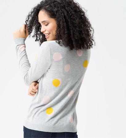 Pullover mit Punkten in stone grey