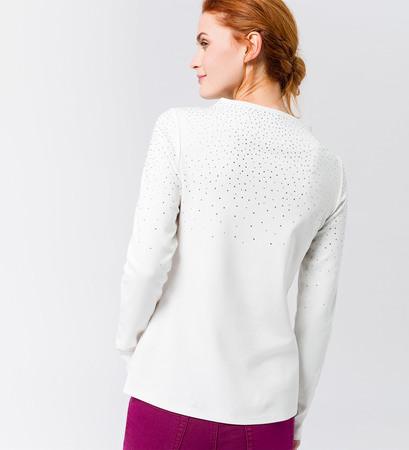 Shirt mit Strasssteinen in offwhite