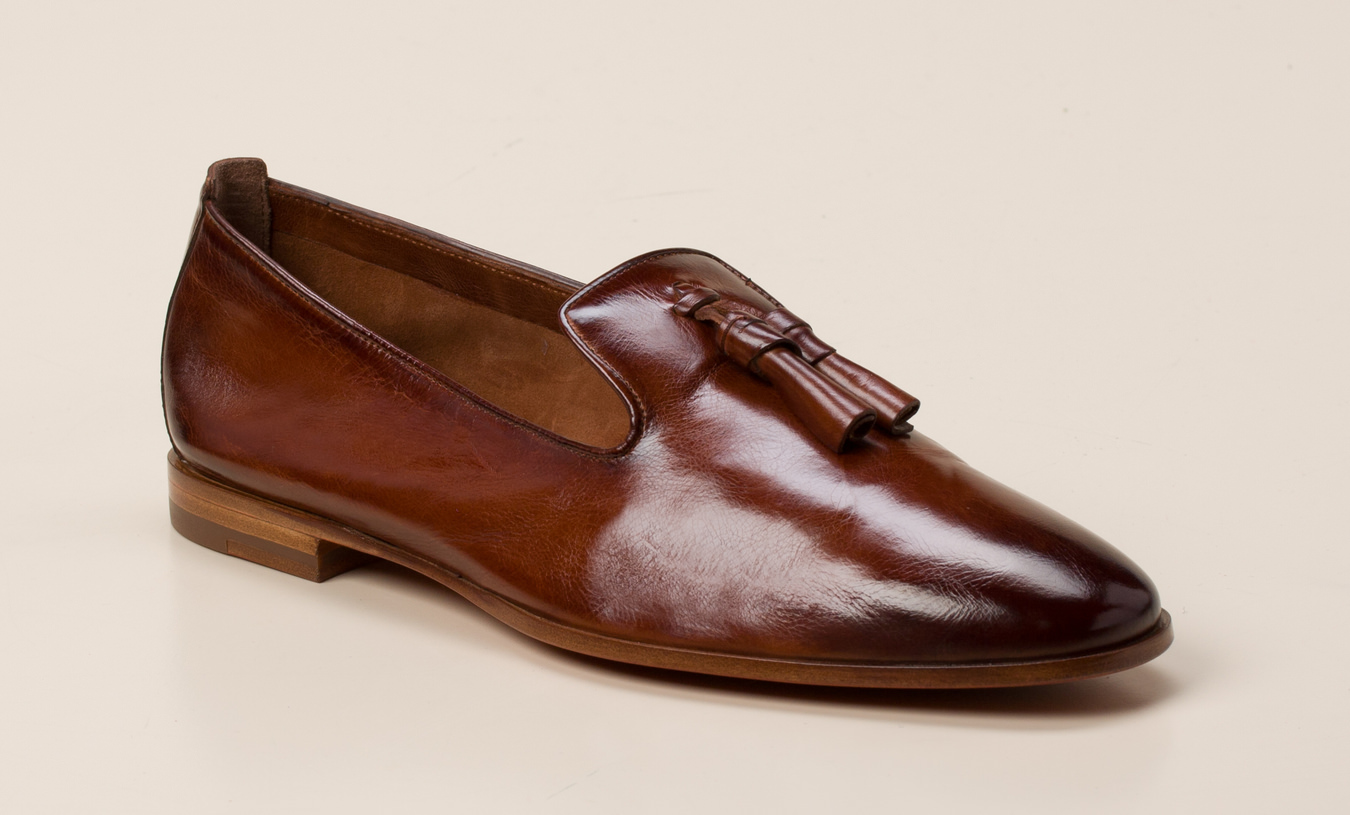 9073dca48ea45b Santoni Damen Slipper in cognac kaufen