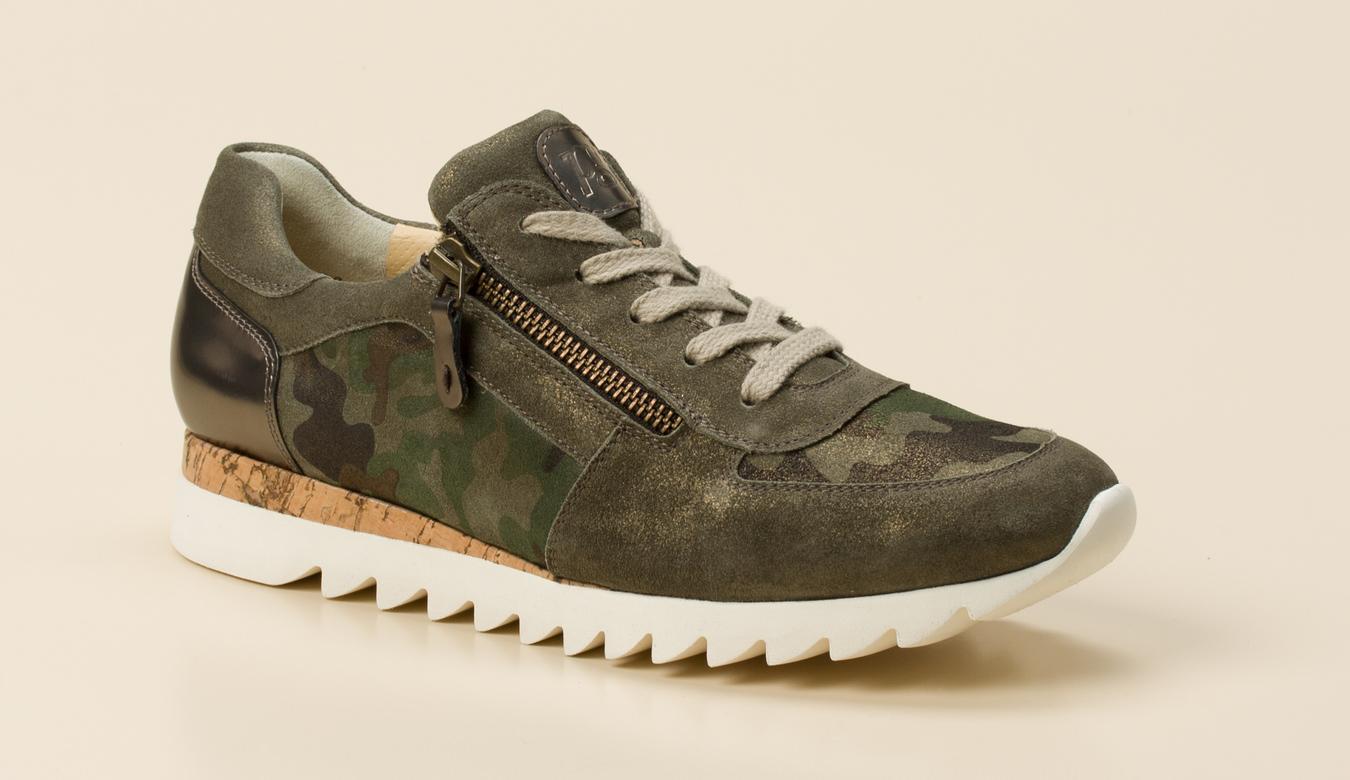 Großbritannien Sonderverkäufe retro Paul Green Damen Sneaker in khaki/oliv kaufen | Zumnorde Online-Shop