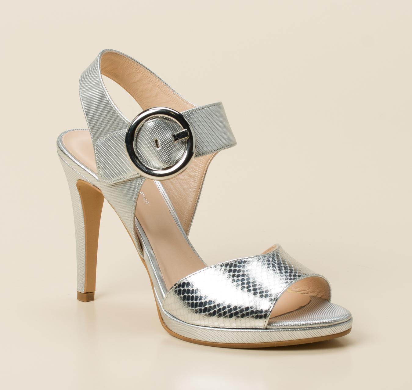 plateau sandalette silber