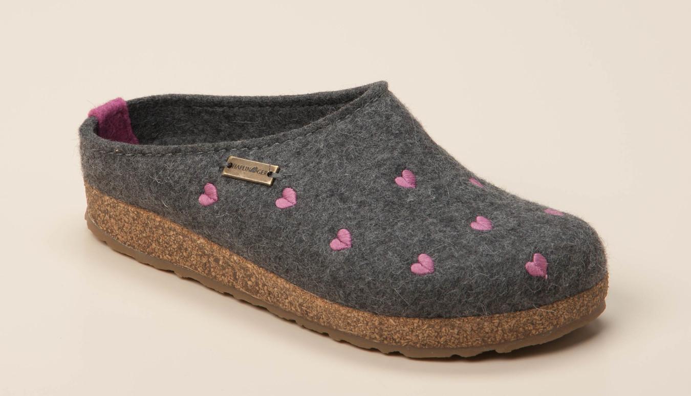 HAFLINGER, Grizzly Cuoricino Pantoffeln, grau | mirapodo